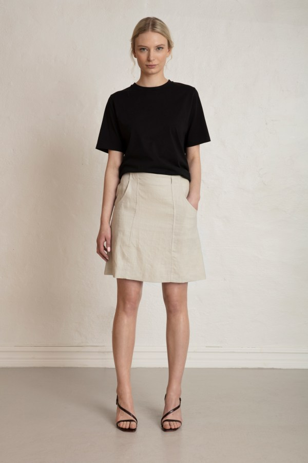 Oak Linen Skirt in Sand Stone