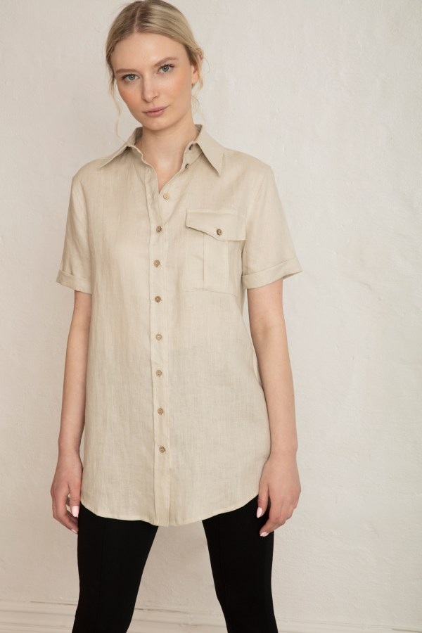 Pine Linen Shirt in Sand Stone