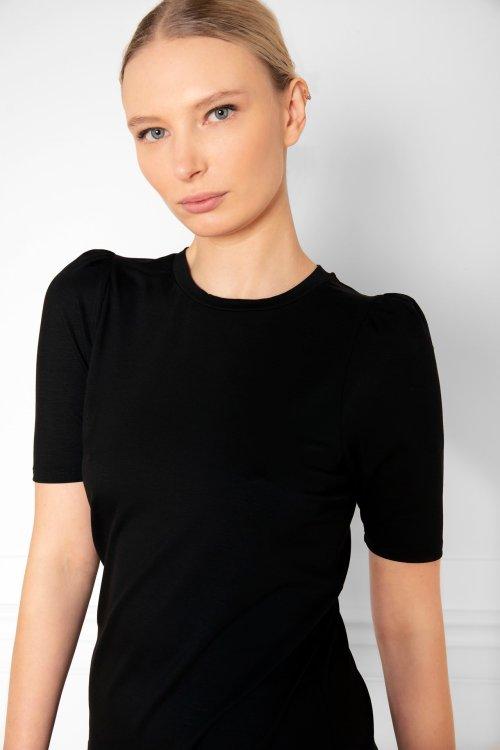 Tu Puff Sleeve Top in color Black