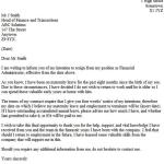 After Maternity Leave Resignation Letter Example