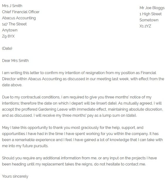Mutual Resignation Letter Example - Resignation Letter Examples