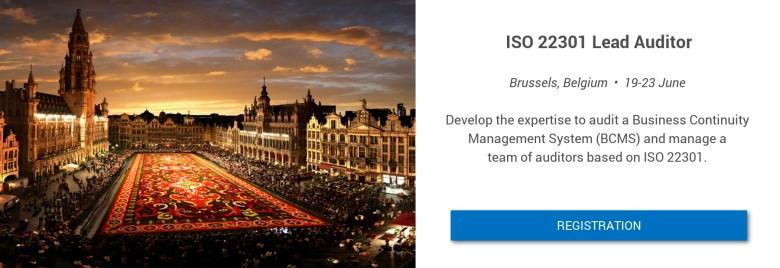 ISO 22301 LA in Brussels on 19-23 June Flyer