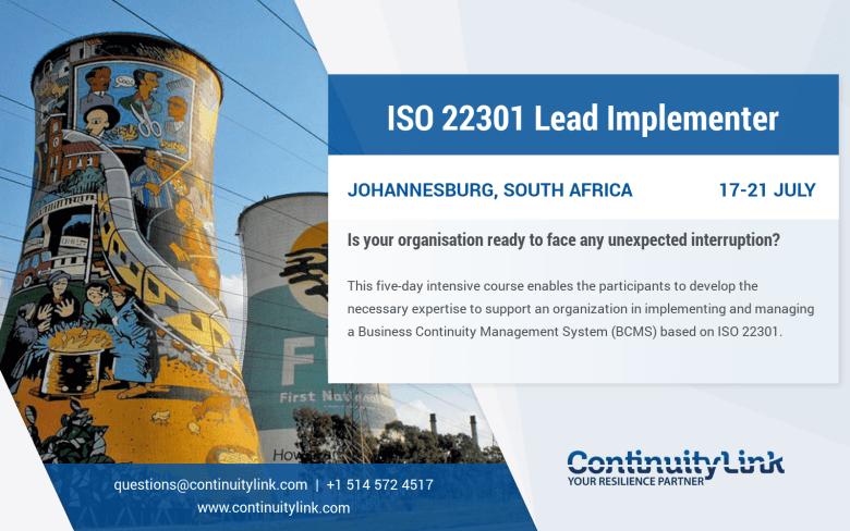 ISO 22301 LI in Johannesburg on 17-21 July