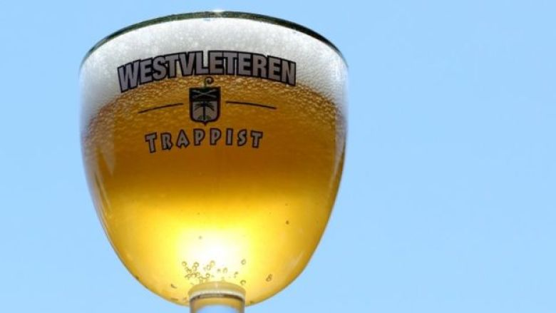A glass of Belgian Trappist beer Westvleteren is seen at St Sixtus Abbey in Westvleteren, Belgium
