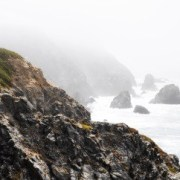 Nature scene of ocean and cliffs