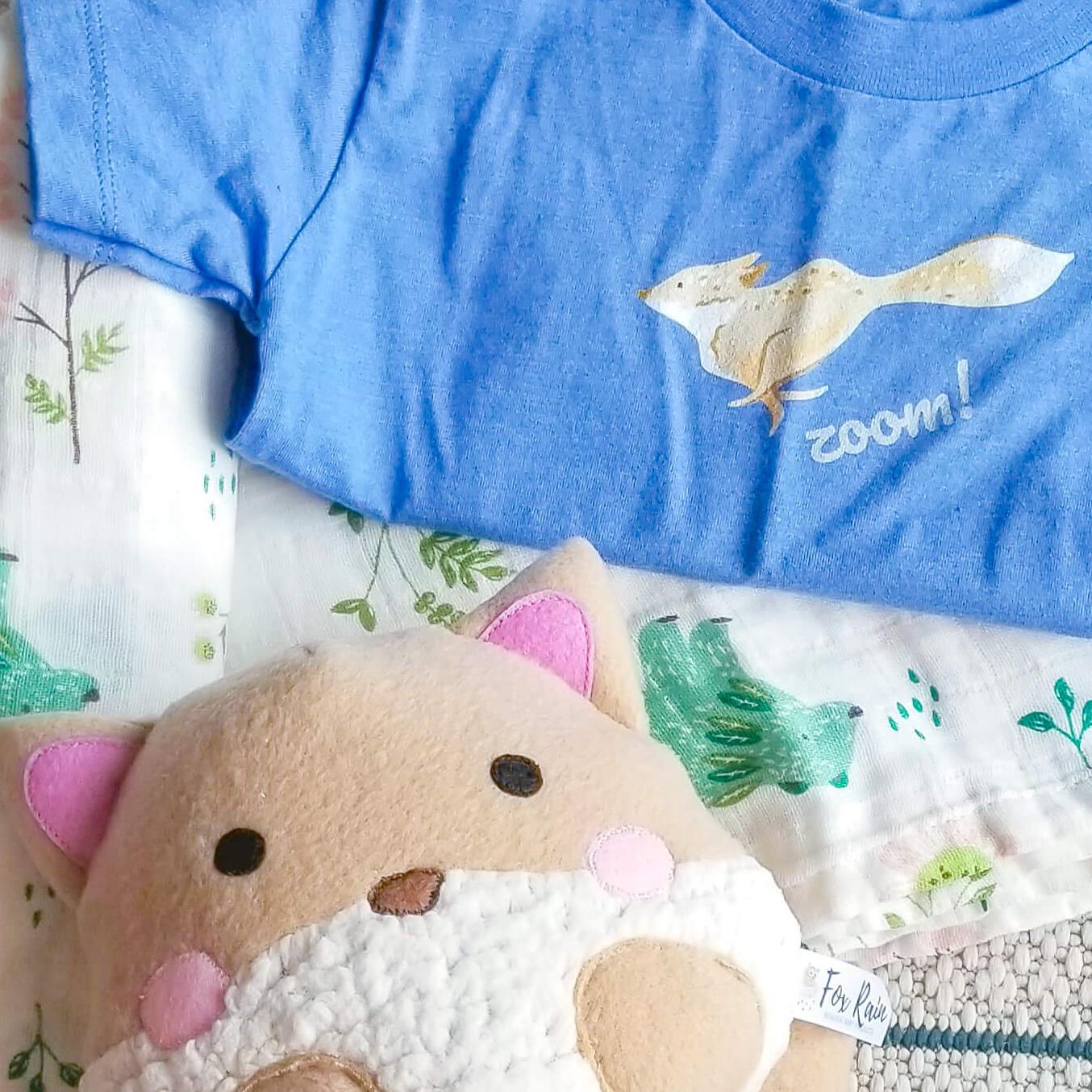 fox rain collection chungi the fox print tshirt toddler unisex and plush stuffed animal