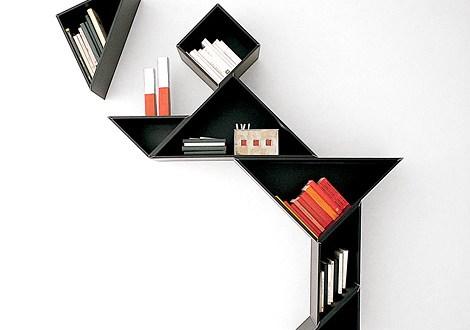 geometrik kitaplık tasarımları