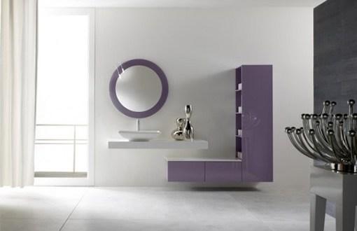 lila-beyaz banyo dolapları