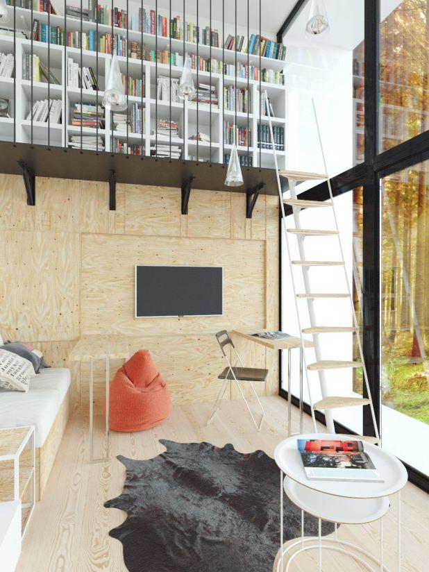 Yüksek Tavanlı Küçük Evlerde Ferahlık Veren İç Dekorasyon (9)
