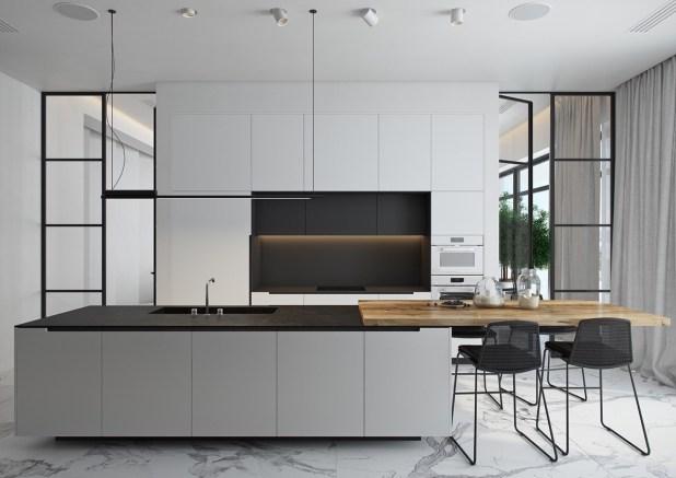 siyah-beyaz-mutfak-içinde-ahşap-ada