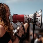 bullhorn rally woman