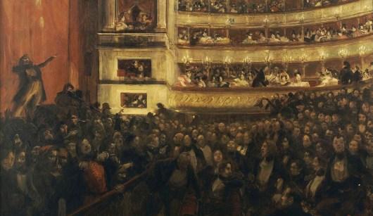 Albert BESNARD (1849-1943), La première d'Hernani. Avant la bataille. — Le tableau représente l'événement de la première de la pièce de Victor Hugo, devenue célèbre parce qu'identifiée comme le point tournant de la victoire du romantisme sur le classicisme en France.