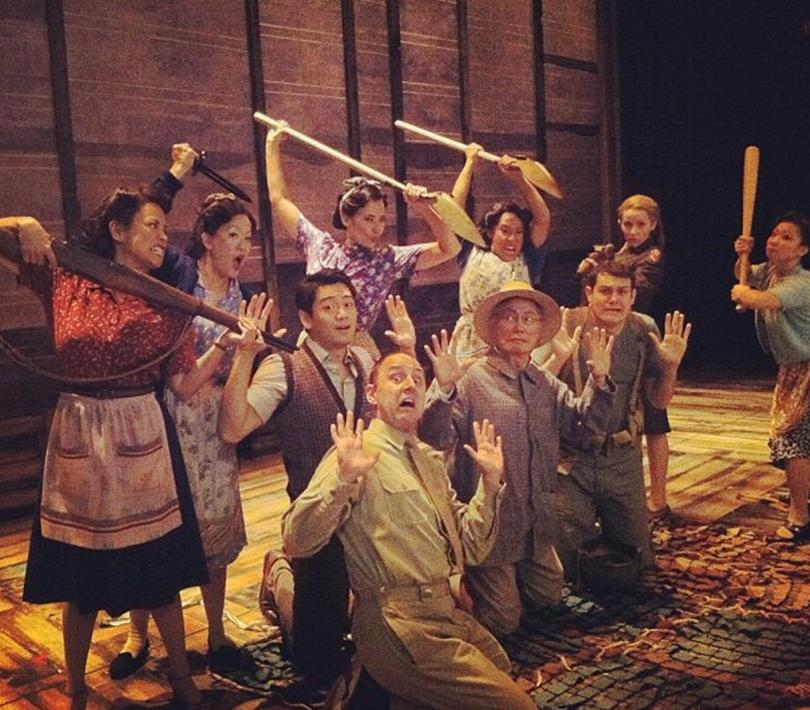"""Cast of """"Allegiance"""" horsing around with props"""