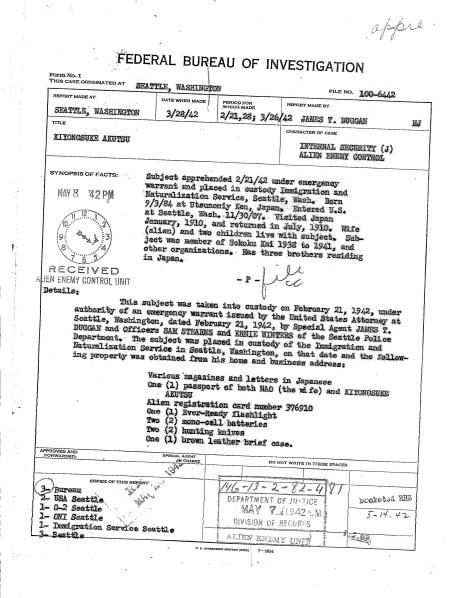 FBI report on Kiyonosuke Akutsu arrest