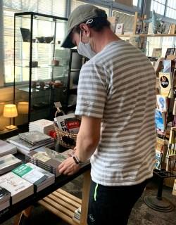 Michael at Chin Music Press shop