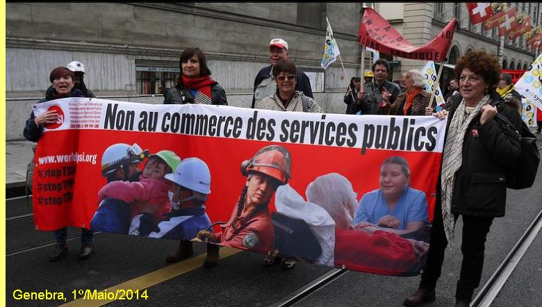 Manifestação em Genebra contra a privatização de serviços públicos.