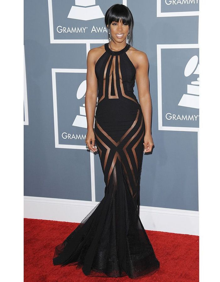 Kelly Rowland no vestido transparente