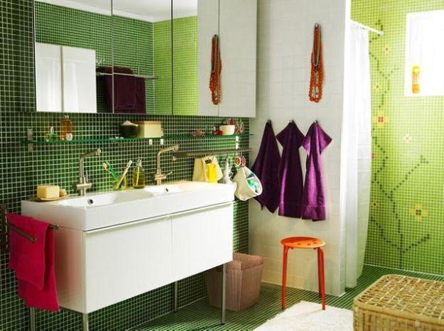 Salle de bains verte ikea