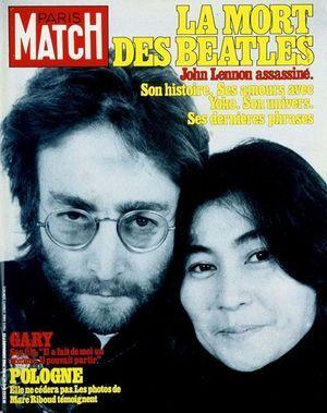 La Une de Paris Match, après la mort de John Lennon