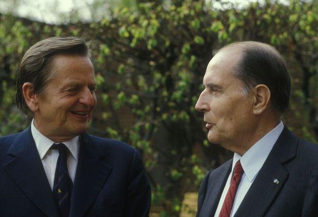 Olof Palme et François Mitterrand en mai 1984.