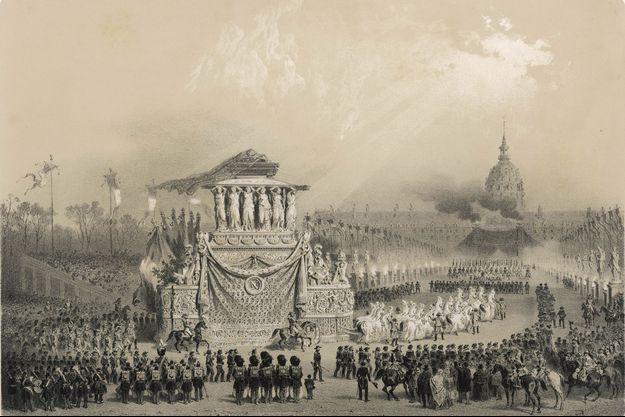 Gravure figurant le char funèbre de Napoléon Ier en direction des Invalides, le 15 décembre 1840