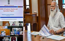 Prime Minister Narendra Modi at a high-level meeting to review the COVID related issues and vaccinat- India TV Hindi