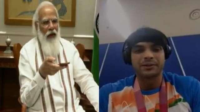 पीएम मोदी ने भाला फेंक एथलीट नीरज चोपड़ा को फोन पर दी बधाई- India TV Hindi