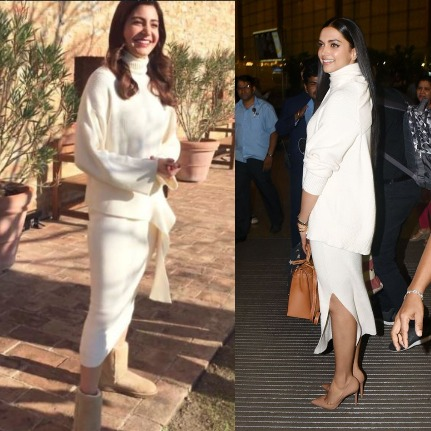 India Tv - Anushka Sharma and Deepika Padukone in same white sweater with white pencil skirt