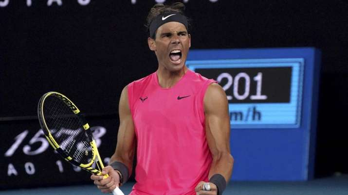 Spain's Rafael Nadal celebrates after winning the third set