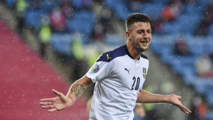 Serbia's Sergej Milinkovic-Savic cheers after his and