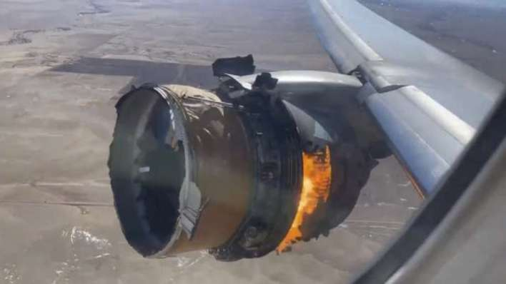 "The engine of United Airlines Flight 328 is on fire after after experiencing ""a right-engine failure"