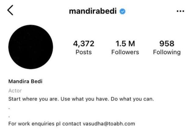 India Tv - Mandira Bedi Instagram dp