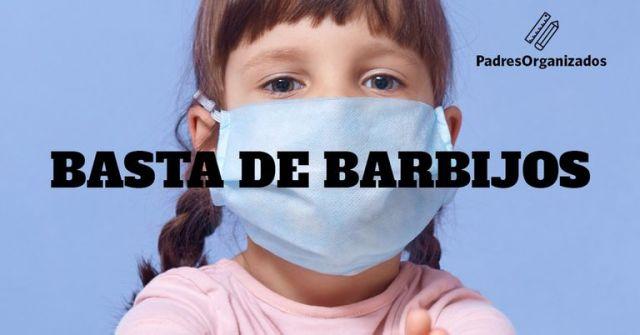 Afiche de Padres Organizados para reclamar que los barbijos no sean obligatorios en las aulas en este momento de la pandemia