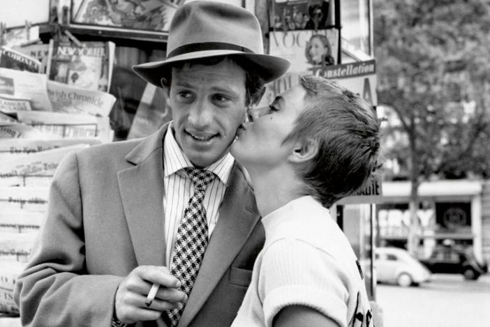 Jean Paul Belmondo junto a Jean Seberg, en Sin Aliento