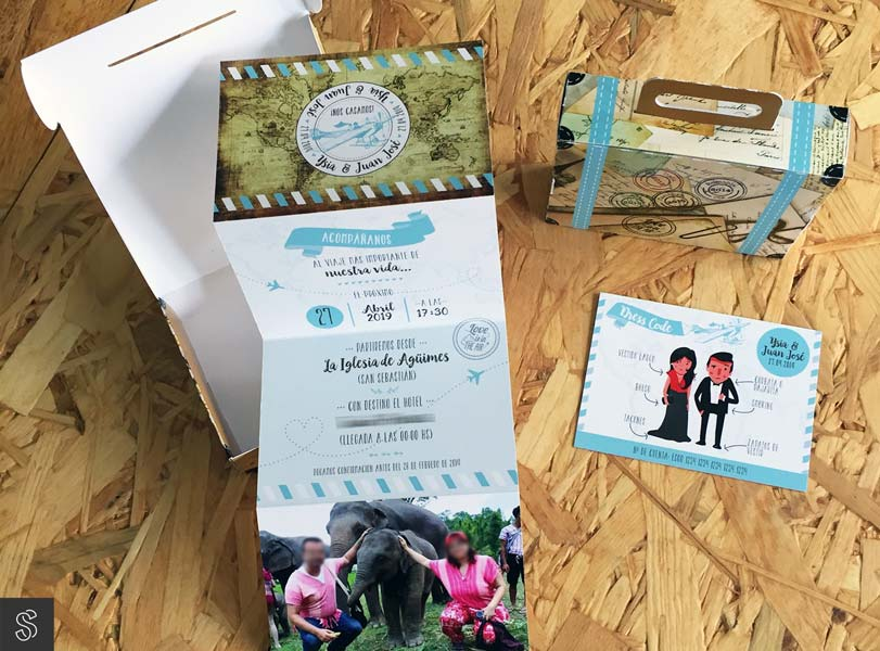invitaciones de boda tipo maleta de viaje, hecha a medida con imágenes y los textos aportadas por el cliente