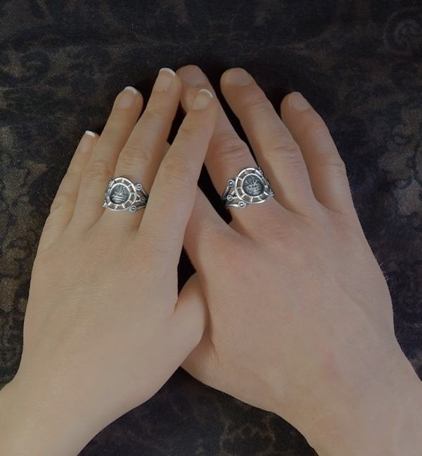 Masculine/feminine rings with mandrake, magic plant, body inspired by d'a retro silver orangery | Res Mirum