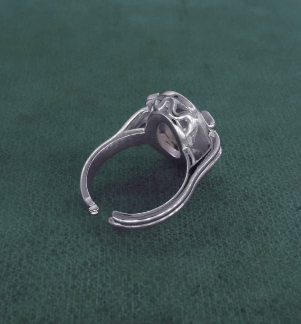 Retro ring inspired by peony flower and d'a bird in l'handcrafted silver Marie-Antoinette spirit back | Res Mirum