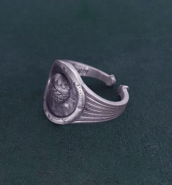 Bague ronde style camée montgolfière Louis XVI en argent 925 artisanat français | Res Mirum