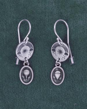 Small earrings d'round earrings with aerial sky patterns and 925 silver mini aerostat charms made in France | Res Mirum