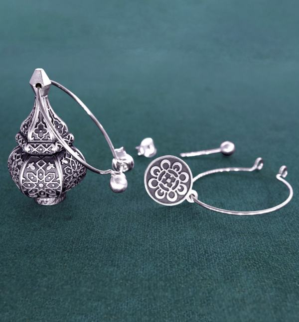 Earrings d'asymmetrical earrings inspired by oriental lanterns on 925 sterling silver creoles | Res Mirum system