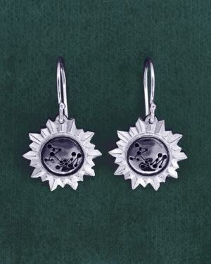 "Small earrings d'earrings mirror shape sun and constellation engraving ""RM"" in 925 silver handmade 