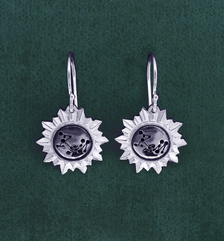 """Small earrings d'earrings mirror shape sun and constellation engraving """"RM"""" in 925 silver handmade 