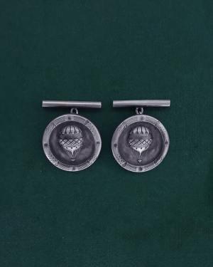 Boutons de manchette ronds à motifs d'aérostats ou ballons vintage pour mariage rétro et original en argent 925 fabriqué artisanalement | Res Mirum