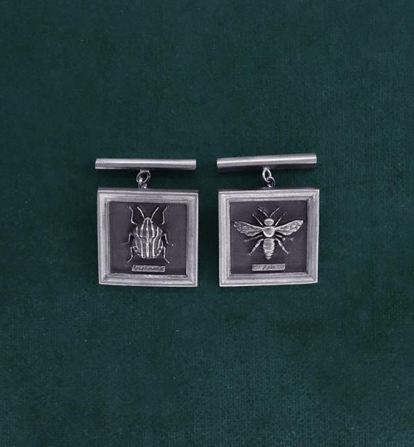 Boutons de manchettes carrés punaise arlequin & abeille en argent massif fabriqués en France | Res Mirum