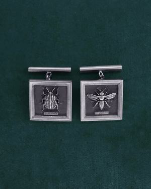 Sterling silver harlequin bug & bee square cufflinks cufflinks made in France | Res Mirum