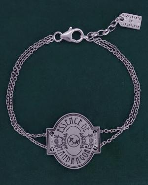 "Bracelet pharmacy label engraving ""essence of mandrake"" spirit Harry Potter, fantastic silver bracelet 