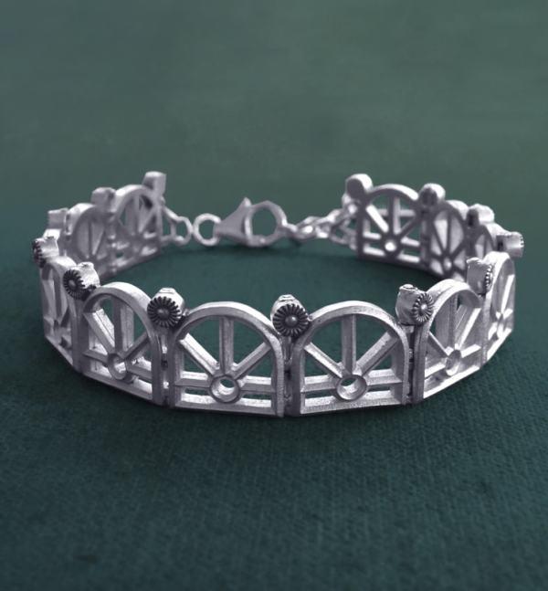 Bracelet délicat dans l'esprit architectural des grandes orangeries de la Renaissance en argent 925 fait main en France | Res Mirum