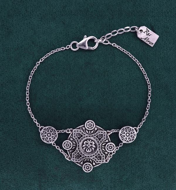 925 silver 925 round floral bracelet inspired by l'architecture d'Orient and zelliges made in France | Res Mirum