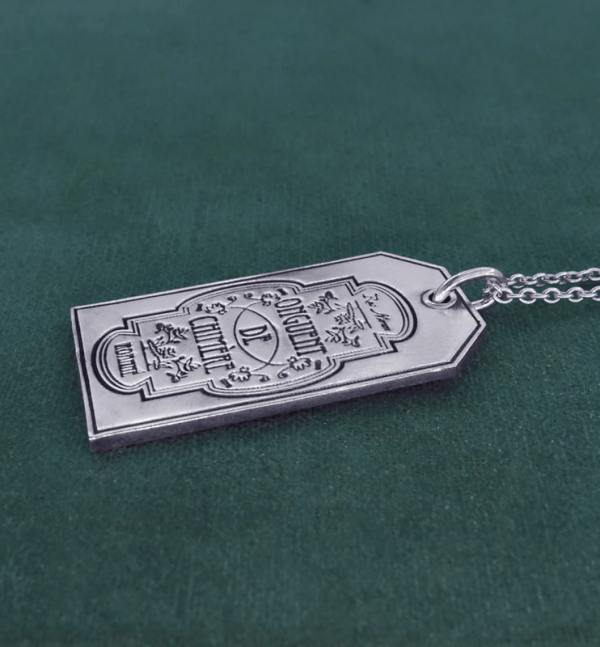 """Silver pendant plate engraved """"Onguent de Chimère"""" spirit sorcery & alchemy made in France 