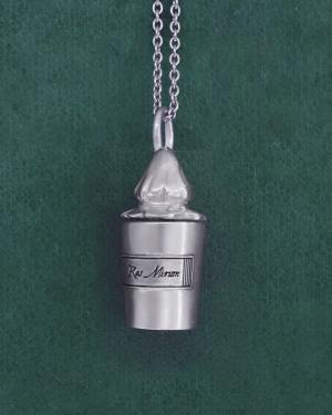 Retro silver pharmaceutical bottle pendant made in France | Res Mirum